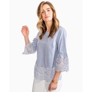 Southern Tide Ivy Eyelet Popover Top - Small